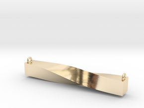 Twisted Bar Pendant in 14k Gold Plated Brass