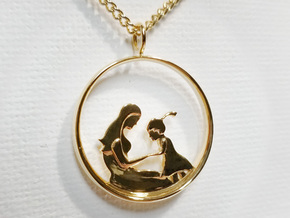 Mother & Daughter Pendant 2 -Motherhood Collection in 14k Gold Plated Brass