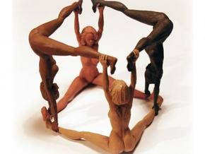 The Human Cube - 2 female elements - Naked Geometr in White Strong & Flexible
