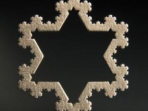 Koch Snowflake Ornament (4th Iteration) in Polished Bronzed Silver Steel