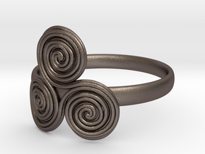 Bronze age triple spiral cult ring in Polished Bronzed Silver Steel
