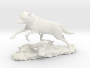 Animal wolf jumps over tree trunk in White Natural Versatile Plastic