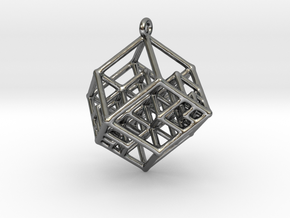 Tesseract Earrings in Fine Detail Polished Silver
