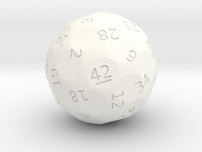 "d42 ""Dice, the Universe, and Everything"" in White Processed Versatile Plastic"