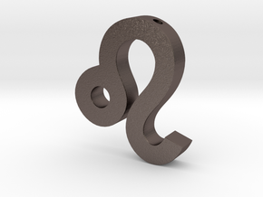 Leo Symbol Pendant in Polished Bronzed Silver Steel