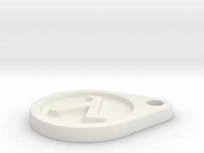 Half Life Logo Keychain in White Natural Versatile Plastic