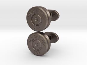 Bullet cufflinks in Polished Bronzed Silver Steel