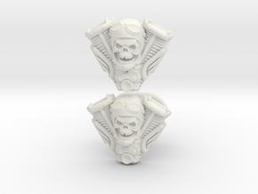 Skull engine cufflinks in White Natural Versatile Plastic