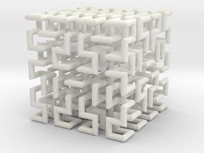 Hilbert Curve in White Premium Versatile Plastic