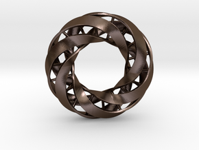 Double DNA trefoil, Cycle of life in Polished Bronze Steel