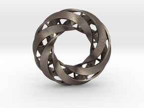 Double DNA trefoil, Cycle of life in Polished Bronzed Silver Steel