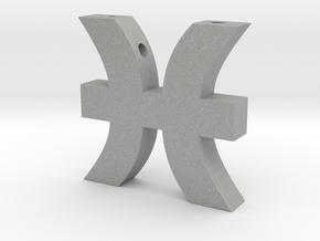 Pisces Symbol Pendant in Aluminum