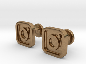 Instagram cufflinks in Natural Brass