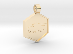 Tank [pendant] in 14k Gold Plated Brass