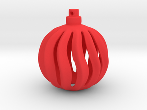 Christmas Bauble Wavy in Red Processed Versatile Plastic