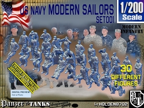 1/200 USN Modern Sailors Set001 in Smoothest Fine Detail Plastic
