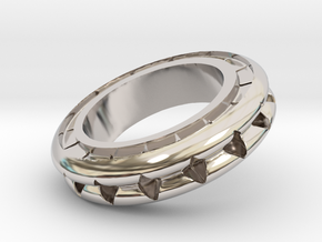Ring X4 in Rhodium Plated Brass: Small