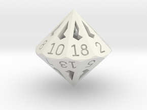 18 Sided Die - Large in White Premium Strong & Flexible