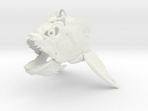 Xiphactinus Skull Ornament in White Natural Versatile Plastic