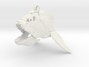 Xiphactinus Skull Ornament in White Natural Versatile Plastic