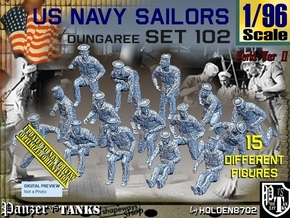 1/96 USN Dungaree Set 102 in Smooth Fine Detail Plastic