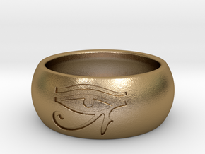 "Ring engraved with ""EYE of HORUS""  in Polished Gold Steel: 10 / 61.5"