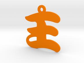 Wang Character Ornament in Orange Processed Versatile Plastic