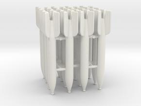 Set of 16 M-13 Rockets for Katyusha 1:24 scale in White Natural Versatile Plastic