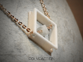 Loop ::: Square Pendant ::: v.01 in White Processed Versatile Plastic