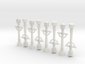 8x Victorian Streetlights in White Natural Versatile Plastic