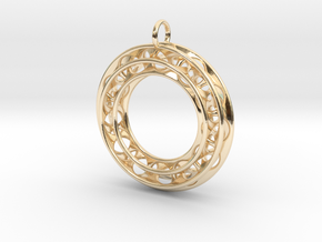 Pendant: Moebius Triple Ø 30mm / Medium Thickness in 14k Gold Plated Brass