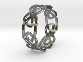 Celtic Knot Bracelet in Fine Detail Polished Silver: Large