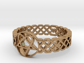 Love Metal Knot Band Ring in Polished Brass: 5 / 49