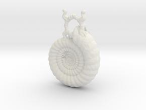 Ammonite Pendant in White Natural Versatile Plastic