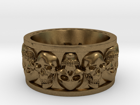 Faced Skullring (Size 10) in Natural Bronze