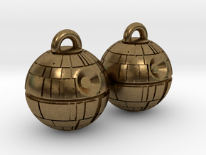 Death Star Earrings in Natural Bronze