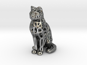 Voronoi Cat Sitting in Fine Detail Polished Silver