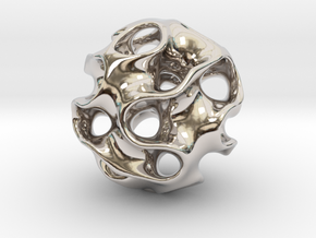 GYROID Spheroid Pendant - 20mm in Rhodium Plated Brass
