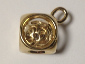 Backgammon Doubling Cube Pendant in Polished Brass (Interlocking Parts): Small