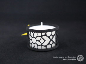 Set of 2 small tealight holders with Mosaic-2 in Black Natural Versatile Plastic