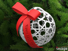 Customizable Christmas Ornament - Geometric 1 in White Strong & Flexible Polished