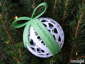 Personalized Bow for Chrismas Ornaments  in Green Processed Versatile Plastic