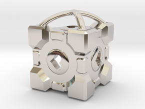 "1"" Portal Companion Cube Pendant in Rhodium Plated Brass"