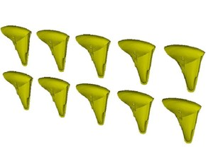 1/24 scale WWII era pistol holsters x 10 in Smooth Fine Detail Plastic