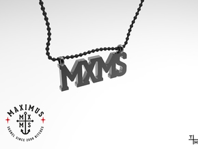 Necklace: MXMS in Matte Black Steel