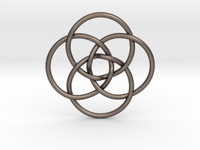 "Quadruple Vesica Piscis Pendant 1.2"" in Polished Bronzed Silver Steel"