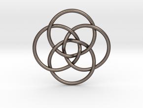 "Quadruple Vesica Piscis Pendant 1.2"" in Polished Bronzed Silver Steel"