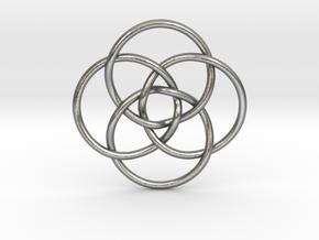 """Quadruple Vesica Piscis Pendant 1.2"""" in Natural Silver"""