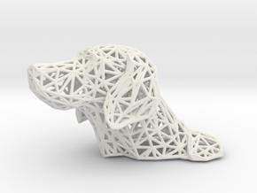Polygon dog head in White Natural Versatile Plastic