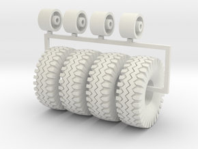 1/50 Wagon wheel and big off road tires in White Natural Versatile Plastic